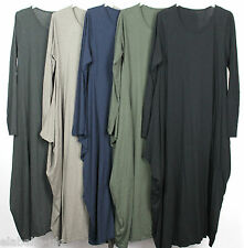 New Ladies Unusual Draped Sides Italian Lagenlook Boho Quirky Soft Cotton Dress
