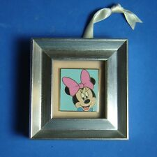 Minnie Mouse Disney Pin in Mini Silver Frame Table Stand or Ribbon for Hanging