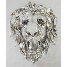 SILVER LION HEAD WALL ART HANGING H:25CM ANIMAL PLAQUE ELECTROPLATED RESIN