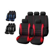 9pc/Set Poly Cloth Black Auto Car Seat Cover Set Airbag Compatible Headrest Case