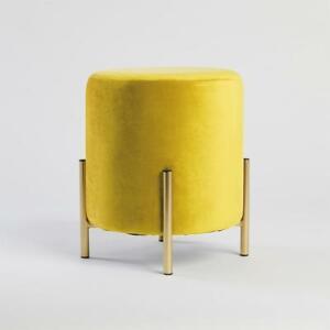New Small Velvet Footstool: Yellow Home Decor Luxury Living Room Chair Stool