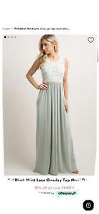 PinkBlush Mint Lace Overlay Top Maxi Dress
