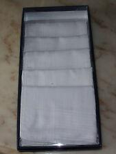 6 mouchoirs homme 100% coton tissée blanc en boite cadeaux
