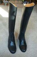 Ladies Leather Pull On Tall Riding Field Boots sz 9.5 Reg Wide Calf NIB
