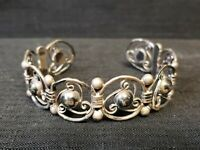 RARE SIGNED  40's QUINTO TAXCO STERLING SILVER SCROLL CUFF BRACELET FOR REPAIR
