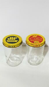 Vintage Jif Peanut Butter Creamy Crunchy Glass Jars With Tin Lids Collectable