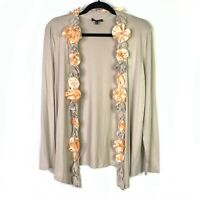 Saks Fifth Avenue Womens Sz L Cardigan Open Front Stretch Floral Embellishment