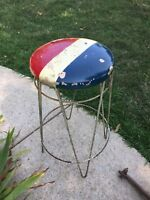 """Vintage Antique Ice Cream Parlor Stool Red White and Blue Original Patina 27"""" T"""