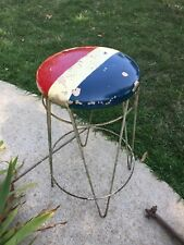 Vintage Antique Ice Cream Parlor Stool Red White and Blue Original Patina 27� T