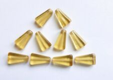 Glass Beads - Flat Triangle Drop - Amber - 15mm x 8mm/1mm hole - Pack of 20