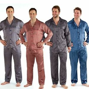 Mens Satin Long Sleeve Pyjamas Pyjama Top and Bottoms Set Size M L XL XXL NEW