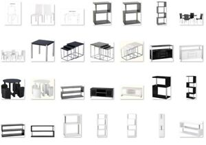 "TV Units Modern ""S"" Shape Shelves Grey Black or White High Gloss & Chrome"