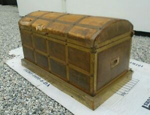 """27"""" Vintage Faux Leather Brass Bound Dome Top Pirate Chest Storage Trunk Toy Box"""