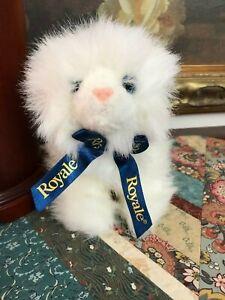 "Gund Royale Tissue Stuffed Plush Persian Cat Blue Ribbon 42588 New 7"" Tall"