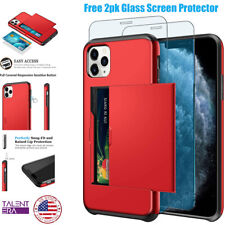 Card Holder Dual Layer Hybrid Shell Shockproof For iPhone 2PK Screen Protector