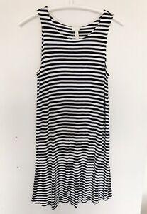 H&M XS 10 M Dress Long Striped Sleeveless Scoop Maxi 38 36 Summer Stripes Beach