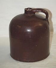 Old Vintage Antique Whiskey Jug Brown Stoneware Crock Primitive Country Farm c