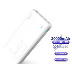 30000mAh Power Bank QC PD 3.0 Fast Charging Portable External Battery Charger