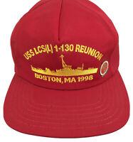 USS LCS(L) 1-130 Reunion Boston MA 1998 Baseball Cap Snapback Made in USA + Pin