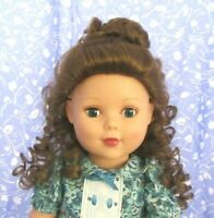 Global SAMANTHA  Lt. Brown Full Cap Doll Wig SZ 11-12  Long, Straight + Bangs