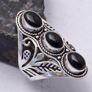 Black Onyx Ethnic Handmade Three Stone Ring Jewelry US Size-7.75 AR 41672