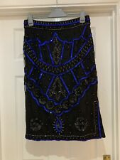 BNWT River Island Black Blue Sequin Bead Embellished Luxe Size 14 Skirt RRP £70