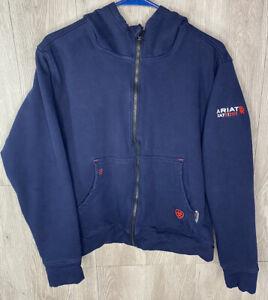 Ariat FR Cat 2 / 2112 Boys Full Zip Hooded Sweatshirt Navy Blue Size Large