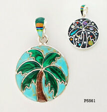 2 IN 1 CELESTIAL MULTICOLOR OPAL ONYX SPINY INLAY .925 SILVER PALM TREE PENDANT