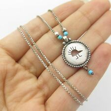 Old Pawn Sterling Silver Turquoise Gemstone Symbolic Pendant Chain Necklace 16""