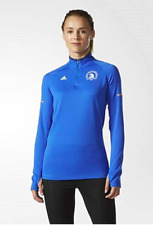 ADIDAS Womens Performance Boston Marathon L/S 1/4 Zip Top Sz S - Blue MSRP $65