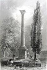 Istanbul, Beyazıt Square FORUM OF THEDOSIUS COLUMN ~ 1839 Art Print Engraving