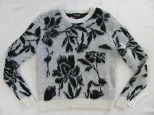 TopShop Fuzzy Black Floral Sweater- Black/Cream/Ivory-Wool Blend-Size 6- NWT