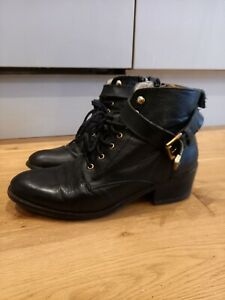 Office 100% Leather Ankle Biker Zip Up Lace Ip Boots