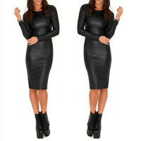 Womens' PU Leather Bodycon Wet look Long Sleeve Pencil Stretch Party Dress Club