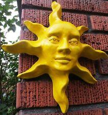 YELLOW Sun Sculpture Hangs on Door, Original Handmade Artwork in Bright Enamel