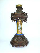 Rares Lampe à Huile ? Purificateur D'Air ? Um 1860 Porcelaine Bois