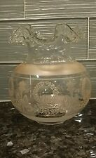 "Antique Glass Parlor Oil Lamp Shade Hurricane Ruffled Etched 2.5"" Fitter"