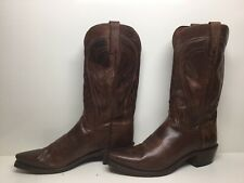 VTG MENS LUCCHESE 1883 SNIP TOE COWBOY BROWN BOOTS SIZE 8 EE