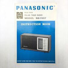 Vintage PANASONIC FM-AM Table Radio Model RE-7257 Instruction Book