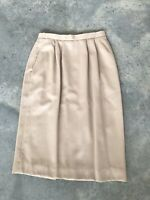 Vintage Burberry's Burberry Beige 100% Wool Below Knee Pencil Skirt Size 8