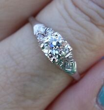 .59ct Center diamond antique platinum vintage engagement ring