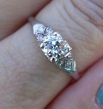 .59ct Center diamond antique platinum vintage engagement ring