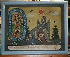 Prayers to Our Lady of Guadalupe Outside The Church Retablo/Ex Voto by Velez