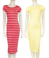 Damen Gestreift Midi Gelb , Korallen Kurzärmelig Oberteile Kleider Größen M-L