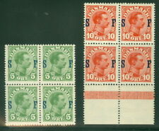 DENMARK #M1-2, 5ore & 10ore Military Stamps, Blocks NH