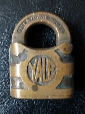 Vintage Heavy Duty Yale And Towne Brass Padlock  Lock No Key.