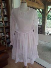Robe rose voile synthétique T. 36-38 vintage 60/70 pink veil dress size S