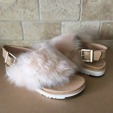 UGG HOLLY FLUFFY FUR SOFT OCHRE SLINGBACK THONG SANDALS SIZE US 5 WOMENS