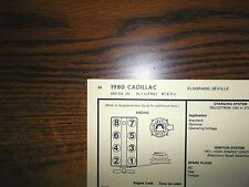 1980 Cadilac Seville & Eldorado Models 350 CI V8 E.F.I. SUN Tune Up Chart Great!