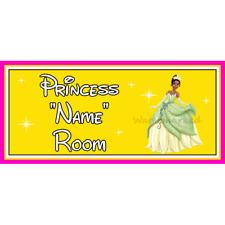 Personalizado Princesa De Disney Princesa Tiana Dormitorio Puerta Firmar – & Rana – Amarillo